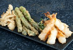 Tempura prawns, asparagus and mushrooms dragon roll sushi recipe | use real butter