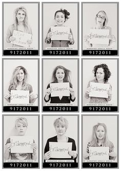 Mug shot bridal party morning after - @Jenny Lynn thought of you and possible fun wedding pic ideas