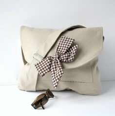 Beige  Messenger  Bag  Brown and White Gingham  Bow von ZeroBags, $34.00
