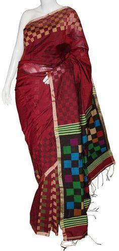 Dark Maroon Bengal Cotton Silk Saree with Blouse