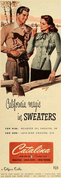 California magic in sweaters!1940s fashion sweater ad color photo illustration print ad catalina knits