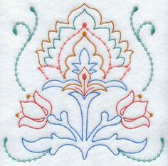 A light-stitching and slightly vintage floral machine embroidery design.