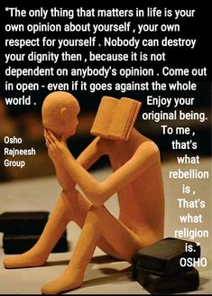 Only your opinion of you matters. Osho