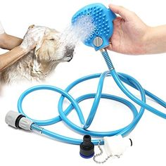 MorisMos Pet Bathing Tool Pet Shower Sprayer and Scrubber in One,Adjustable Handheld Sprayer Brush Dog Cat Horse Grooming Bath Indoor and Outdoor Use -- Visit the image link more details. (This is an affiliate link)