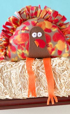 Create a DIY no-sew craft with your kids this Thanksgiving! These stuffed turkeys put a holiday twist on classic knotted fleece blankets and pillows. Use your favorite fall-patterned fabrics to craft this adorable Thanksgiving-themed project.