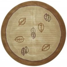 Handmade Circular Tibetan Area Rug in Camel with Brown Accents, 6x6 area rugs