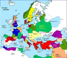 A map of Europe in 1200