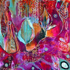 "Flora Bowley, acrylic on canvas, 36"" x 36"""
