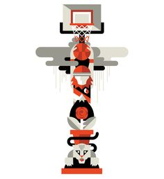 Pieces for Boomshakalaka: A Show Celebrating the Portland Trail Blazers.  Designed by Always with Honor.