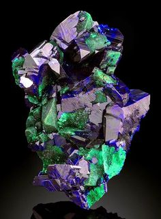Azurite with Malachite partially ps Azurite crystals! from the Electric Blue Pocket, Sonora, Mexico