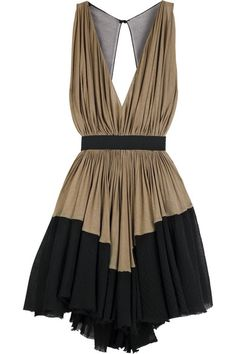Coffee wool jersey dress with a stepped black gauze panel around hem. Alexander Wang dress has a plunging V-neck, a tulle back with large keyhole opening, a ruched waist band, an elasticated belt at waist, a full skirt which falls above the knee and a hook fastening on back.