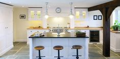 kitchen, island, clean, wood, home, house, chairs