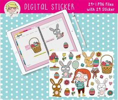 Digital Sticker digitales Aufkleber-Set Ostern   Etsy Cover Design, Ipad, Stickers, Etsy, Drawing Hands, Binder, Decals, Easter Activities, Cards