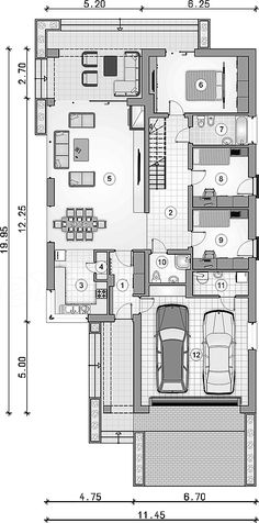 Projekt domu Pliszka VIII 118,1 m2 - koszt budowy - EXTRADOM Floor Plans, House, Projects, Haus, Homes, Floor Plan Drawing, Home, Houses