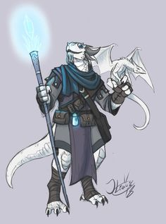 A commisioned design for TheBoiMistress of one of his DnD characters, A Dragonborn sorcerer and his little friend Zargon Rimeclaw Fantasy Character Design, Character Design Inspiration, Character Concept, Character Art, Dungeons And Dragons Characters, Dnd Characters, Fantasy Characters, Fantasy Races, Fantasy Rpg