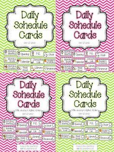 Miss Kindergarten: Chevron Print Daily Schedule Cards