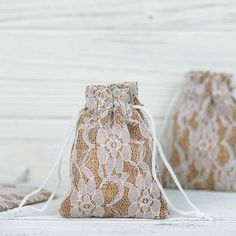 10 pcs Burlap and Floral Lace Gift Favor Bags. Material: High-quality authentic burlap with floral lace. Each order is for 10 favor bags. Affordable Wedding Favours, Creative Wedding Favors, Edible Wedding Favors, Unique Wedding Favors, Bridal Shower Favors, Practical Wedding, Handmade Wedding, Wedding Centerpieces, Elegant Wedding