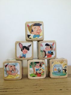 Vintage Pinocchio  // Childrens Book Blocks // by StorybookBlocks, $22.00