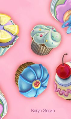 Cupcakes Pink by Karyn Servin.