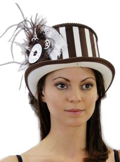 cool Steampunk Princess Vintage Inspired Ladies Riding Hat with Train in 5 Colors Hat Colors: Brown/White