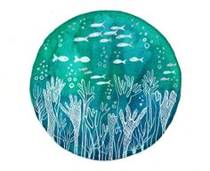 Original Watercolor painting Teal green blue by bluepalette Watercolor Paper, Watercolor Paintings, Underwater Drawing, Acrylic Painting Inspiration, Art Et Illustration, Illustrations, Sketch Markers, Happy Paintings, Hand Painting Art
