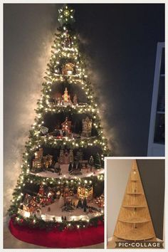 of the most Creative Christmas Trees DIY Christmas Tree Village Stand Corner Christmas Tree, Christmas Tree Village, Creative Christmas Trees, Diy Christmas Garland, Christmas Tree Crafts, Christmas Villages, Christmas Tree Decorations, Christmas Crafts, Christmas Wrapping