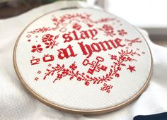 Please stay at home. Isolate as best as you can. Care for your loved ones and for people in need. Cross Stitch Quotes, People In Need, Stay At Home, Cross Stitching, How To Stay Healthy, Favorite Color, Cross Stitch Patterns, Monochrome, Embroidery