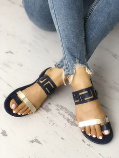 d8b3b23d3c8 Two Tone Hollow Out Toe Ring Flat Sandals - Boutiquefeel Cute Sandals
