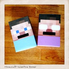 Minecraft Valentine Boxes made from graham cracker boxes, minecraft printables, and construction paper.