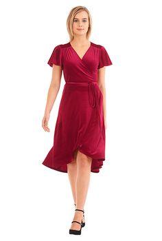 I <3 this Flutter sleeve stretch velvet wrap dress from eShakti