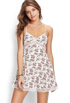 Lace & Floral Cami Dress | FOREVER21 #SummerForever. Would look good w white jean jacket
