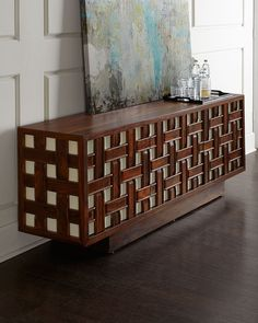 Shop Kenny Basketweave Sideboard from Global Views at Horchow, where you'll find new lower shipping on hundreds of home furnishings and gifts. Sideboard Design, Sideboard Cabinet, Cabinet Furniture, Wood Furniture, Living Room Furniture, Furniture Design, Lacquer Furniture, Furniture Storage, Handmade Furniture