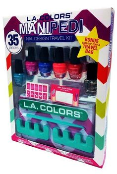 ManiPedi Nail Design Travel Kit L.A Colors Polish Stickers Cosmetic Travel Bag  #LAColors