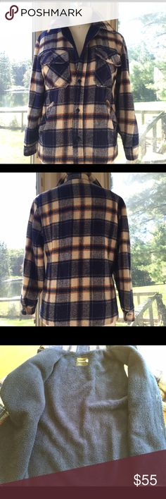 """AwesomeVintage plaid jacket! Vintage plaid lumberjack jacket! Made with super soft fleece! Super warm! Tag says Sz small, but would accommodate a women's medium and maybe even a large. Has two chest pockets and two hand pockets. In great condition! Very small hole on inside corner of right hand pocket. Cannot be seen when worn, and pocket is still very usable! Measurements are chest: 21"""", body length: 26"""", sleeve length: 23.5"""" Vintage Jackets & Coats Utility Jackets"""