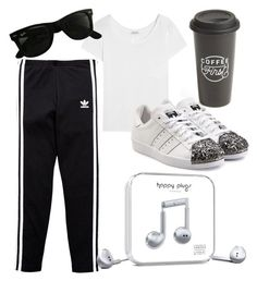 """""""sunday morning"""" by annalisa-la-stella on Polyvore featuring adidas Originals, Happy Plugs, The Created Co., Yves Saint Laurent and Ray-Ban"""