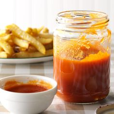 Spicy Ketchup Recipe from Taste of Home -When this homemade ketchup is bubbling on the stove, the aroma takes me back to childhood. One taste and I'm home again. —Karen Naihe, Kamuela, Hawaii