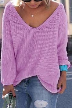 783c33616eb V Neck Loose Casual Knit Sweater Pullover Long Sleeve Spring Sweater