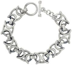 Sterling Silver Oval Link Bracelet w/ Toggle Clasp 1/2 inch (14 mm) wide, 8 inch long Sabrina Silver. $465.60