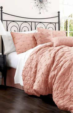 4-Piece Claribel Bedding Set in Peach; I have this bed frame!