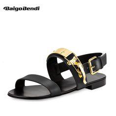 2ffa7d804d78ef Men s Sandals · US-6-12 Men Genuine Leather Metal Punk Beach Flat Thongs  Roman Gladiator Summer