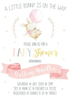 About to Pop Rabbit Vintage Rustic Shabby C… Bunny Baby Shower Invitation Invite. About to Pop Rabbit Vintage Rustic Shabby Chic Boho Watercolor Painted Illustrated Pink Gold Blush Mint Floral Flowers Heart Baby Shower Niño, Baby Shower Invites For Girl, Girl Shower, Shower Party, Baby Shower Parties, Baby Shower Themes, Shower Games, Tarjetas Baby Shower Niña, Invitaciones Baby Shower Niña