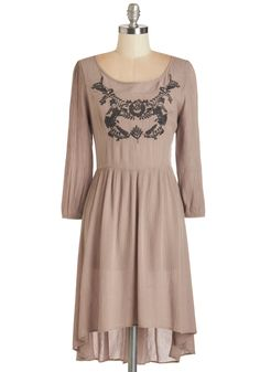 Ubiquitous Bliss Dress. Surround yourself in the peaceful, relaxed style of this flowing taupe dress. #tan #modcloth