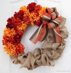 Burlap and Flower Wreath Tutorial: Timeless burlap and fall florals make this a festive piece you'll be able to use year after year.