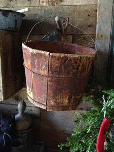 Primitive wood buckets are a country home must have!