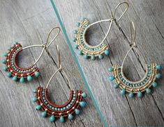 Handcrafted macrame earrings made with linhasita mm thread autumn brown or straw color, MIYUKI beads - Turquoise Blue Picasso , gold plated copper earwires, brass drop. The thin mm linhasita thread gives a very fine look to the earrings. Macrame Jewelry, Macrame Bracelets, Beach Jewelry, Boho Jewelry, Handmade Jewelry, Tassel Earrings, Beaded Earrings, Pearl Earrings, Diy Accessoires