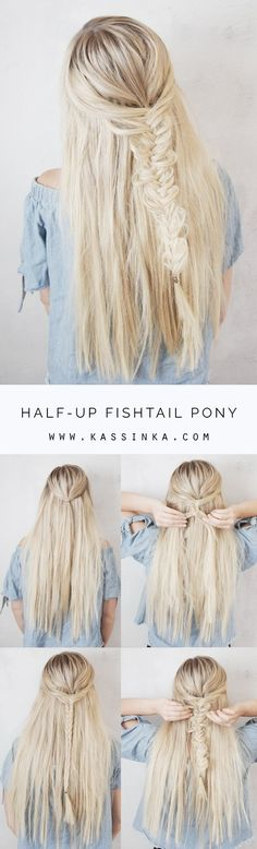 Half-up Fishtail Pony (Kassinka) Love simple half up hairstyles, here is a look that is very common – a fishtail braid! I created this hair tutorial to help you always feel your best & look amazing. Read the steps below and then let Pretty Hairstyles, Braided Hairstyles, Hair Dos, Gorgeous Hair, Hair Trends, Hair Inspiration, Hair Makeup, Long Hair Styles, Fishtail Braids