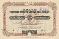 Pražské sklárny akc. spol. (Prager Glasshütten AG). Akcie na 400 Kč. Praha, 1921.