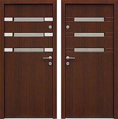 Drzwi wejściowe z aplikacjami inox model 468,1-468,11 w kolorze ciemny orzech