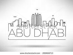 Abu Dhabi City Line Silhouette Typographic Design