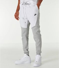 reputable site 5c579 3e3f9 Front view of Mens Nike Tech Fleece Jogger Pants in BirchHeather Grey  Fleece Joggers